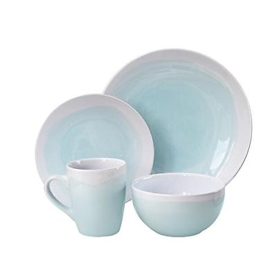 American Atelier Oasis Dinnerware Set 16 Piece, Mint/White