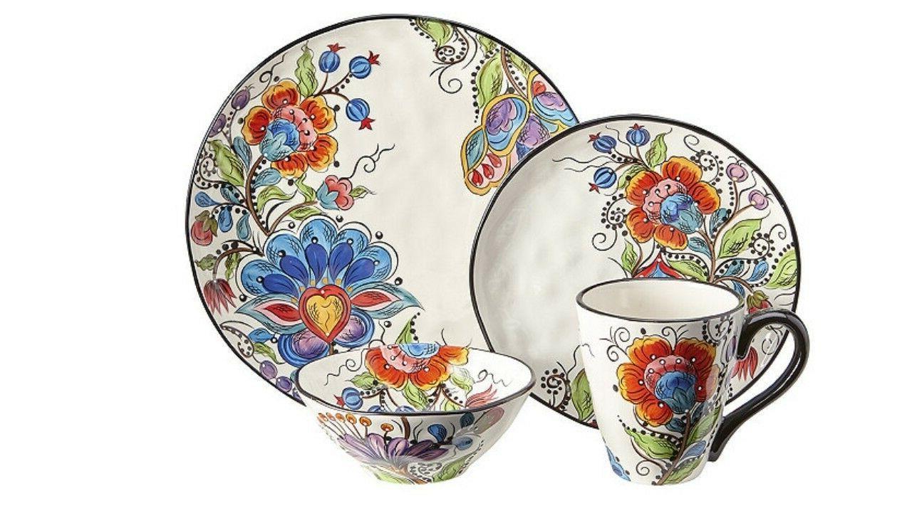 olivia 16 pc stoneware dinnerware set new
