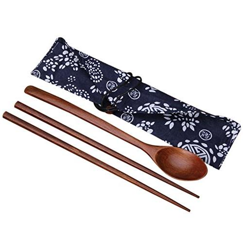 outad portable wooden chopsticks spoon