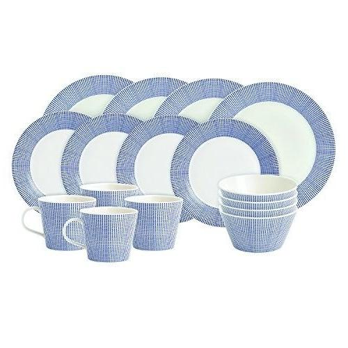 pacific dots 16 piece dinner set white