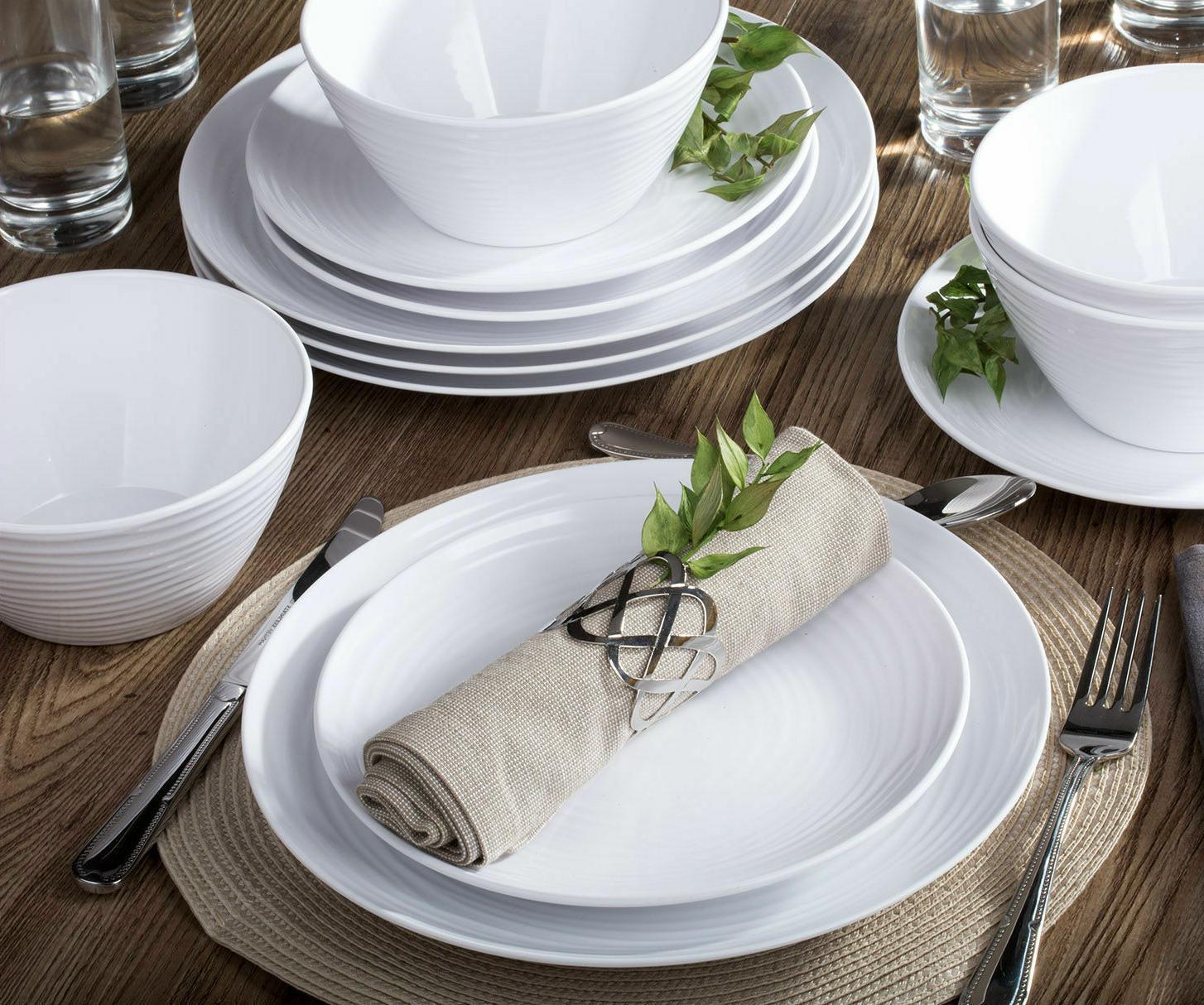 Parhoma White Melamine Home Dinnerware Set, 12-Piece Service