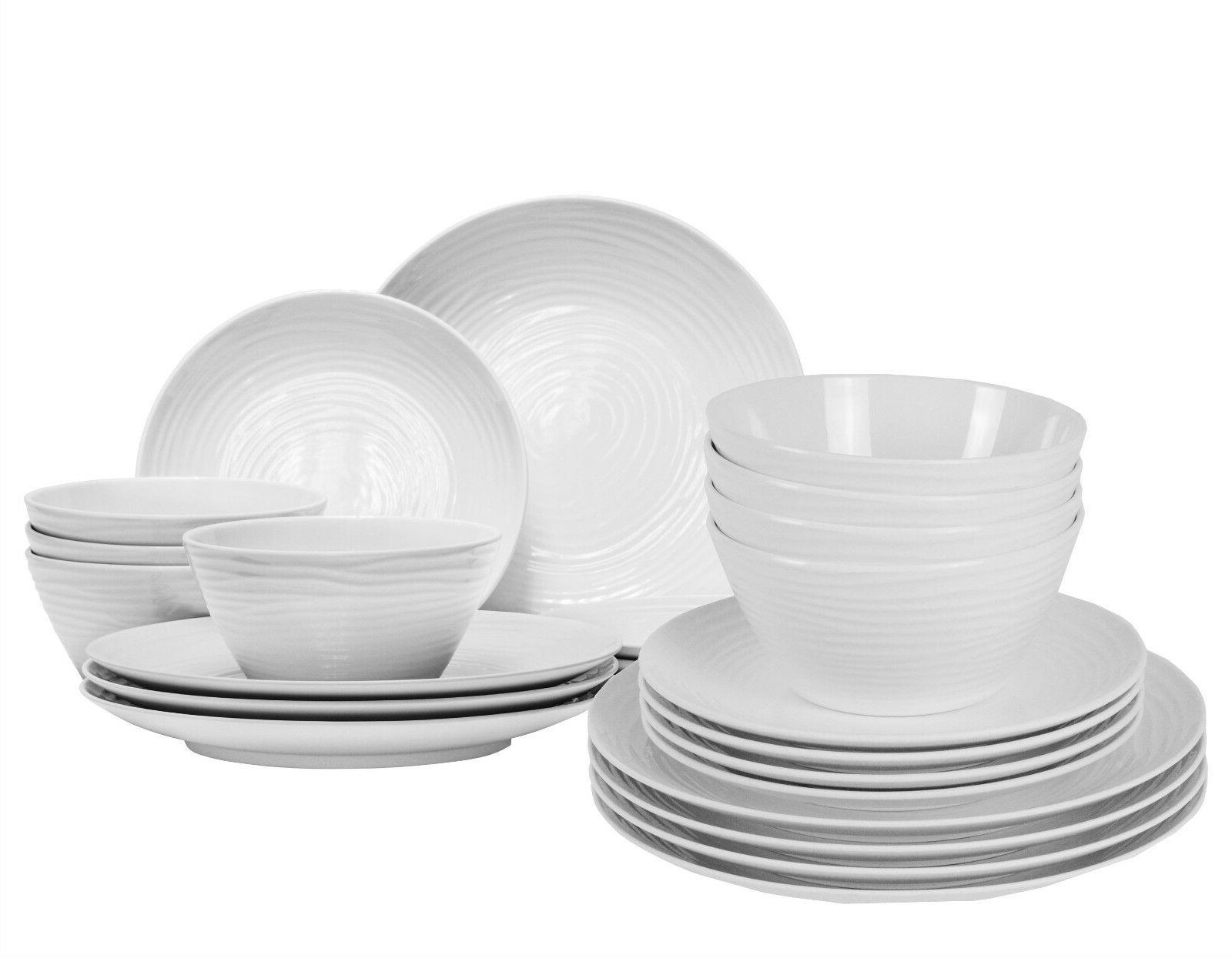 Parhoma 24 Modern White Melamine Dinnerware Set 8 People