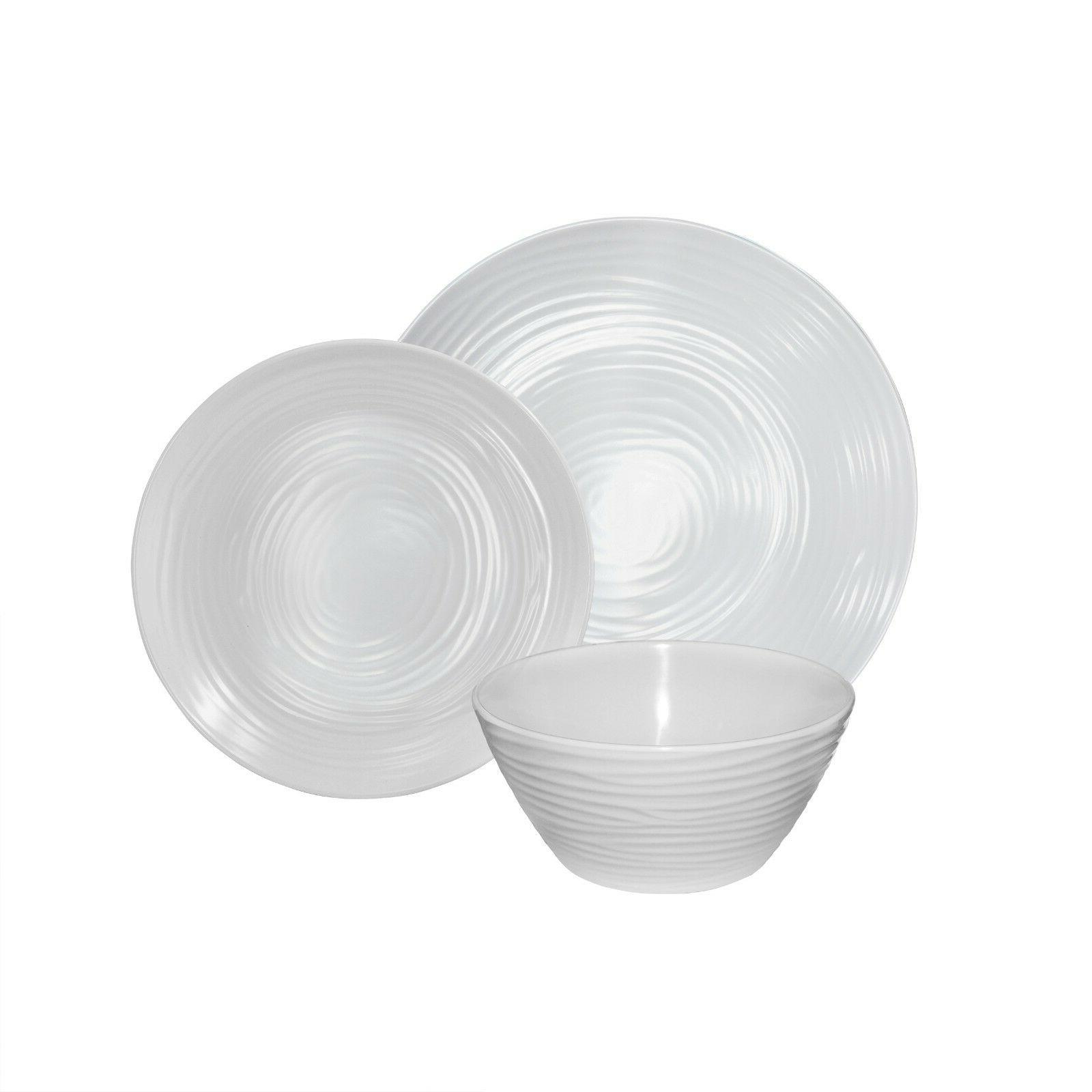 Parhoma 24 Piece White Plastic Melamine Set People