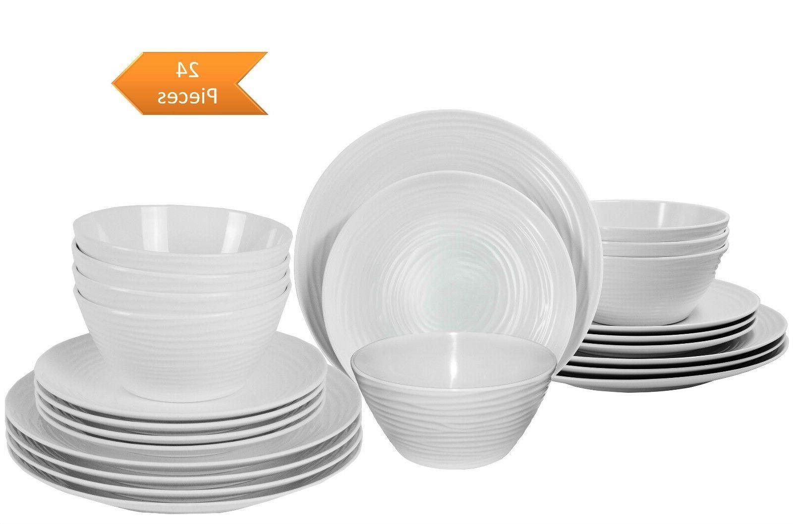 parhoma 24 piece modern white melamine dinnerware