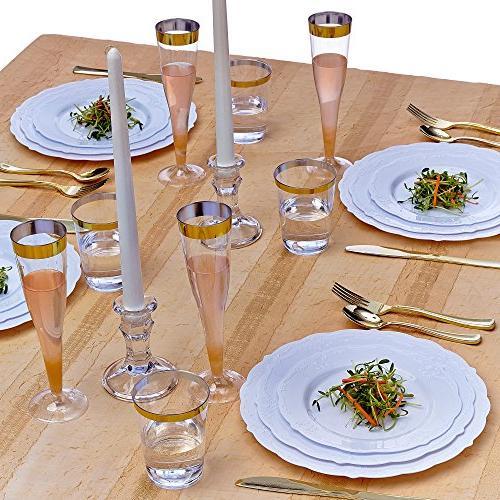 Party Dinnerware Set Dessert Plates | Plastic Elegant Fine Look for Wedding Dining