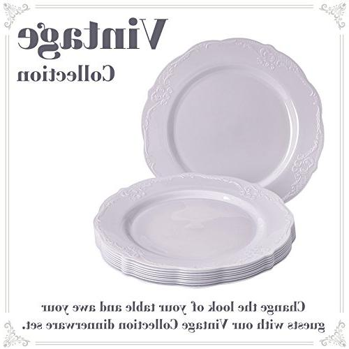 Party Disposable pc Dinnerware Set | Dessert Plates | Plastic Dishes | Elegant Fine for and Dining