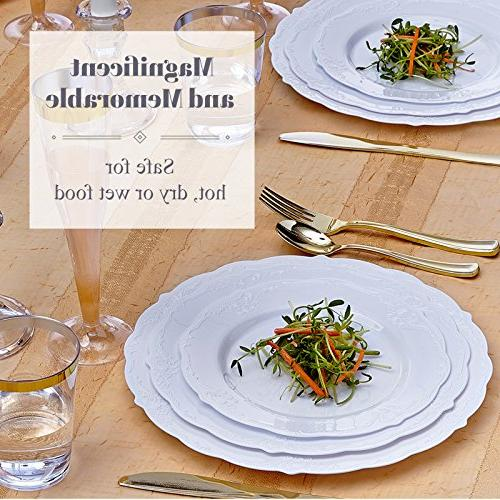 Party Disposable Dinnerware Set Dessert Plastic Dishes Elegant Fine China Look | for Dining