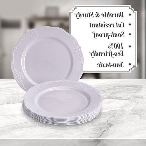 Party Disposable pc Dinnerware Dessert Heavyweight Plastic for Upscale Wedding Dining