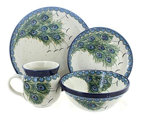 peacock feather dinner set polish