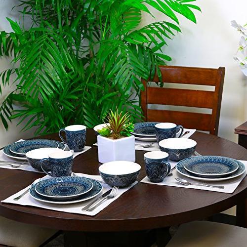 Elama Piece Stoneware Dinnerware Set, 16pc