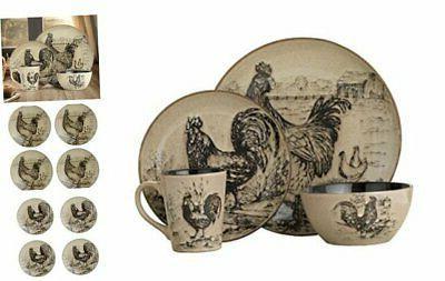 pfaltzgraff homespun rooster 16 piece dinnerware set