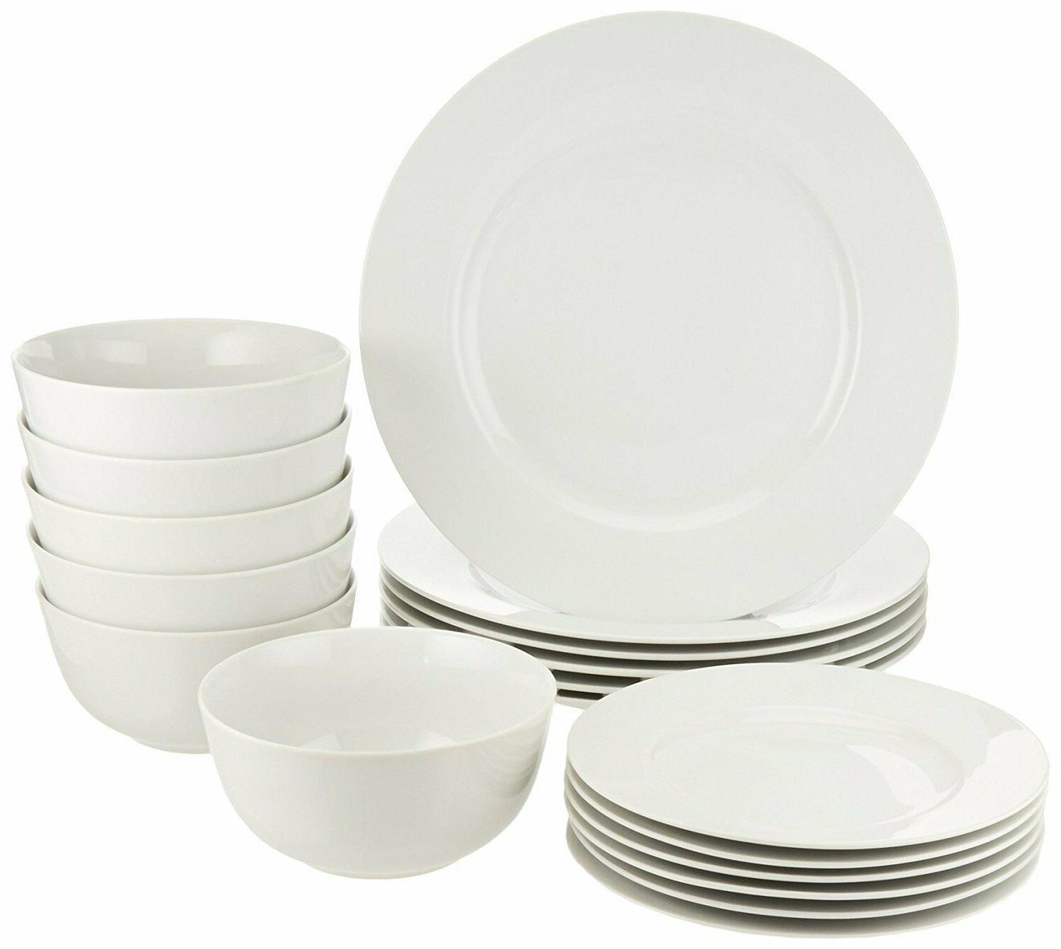 piece set service 6 18 dinnerware white