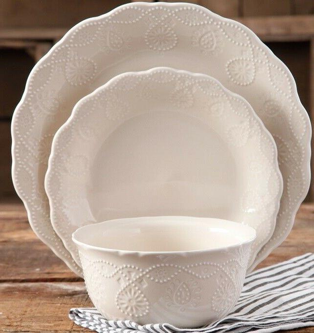 pioneer woman lace linen 12 piece dinnerware