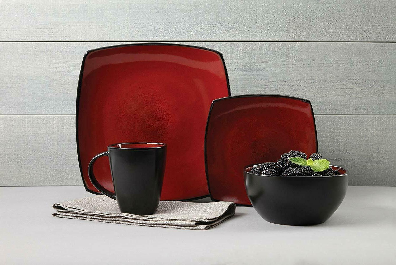 16 Piece Dinnerware Set in Red; 4 Dinner 4 Plates,...