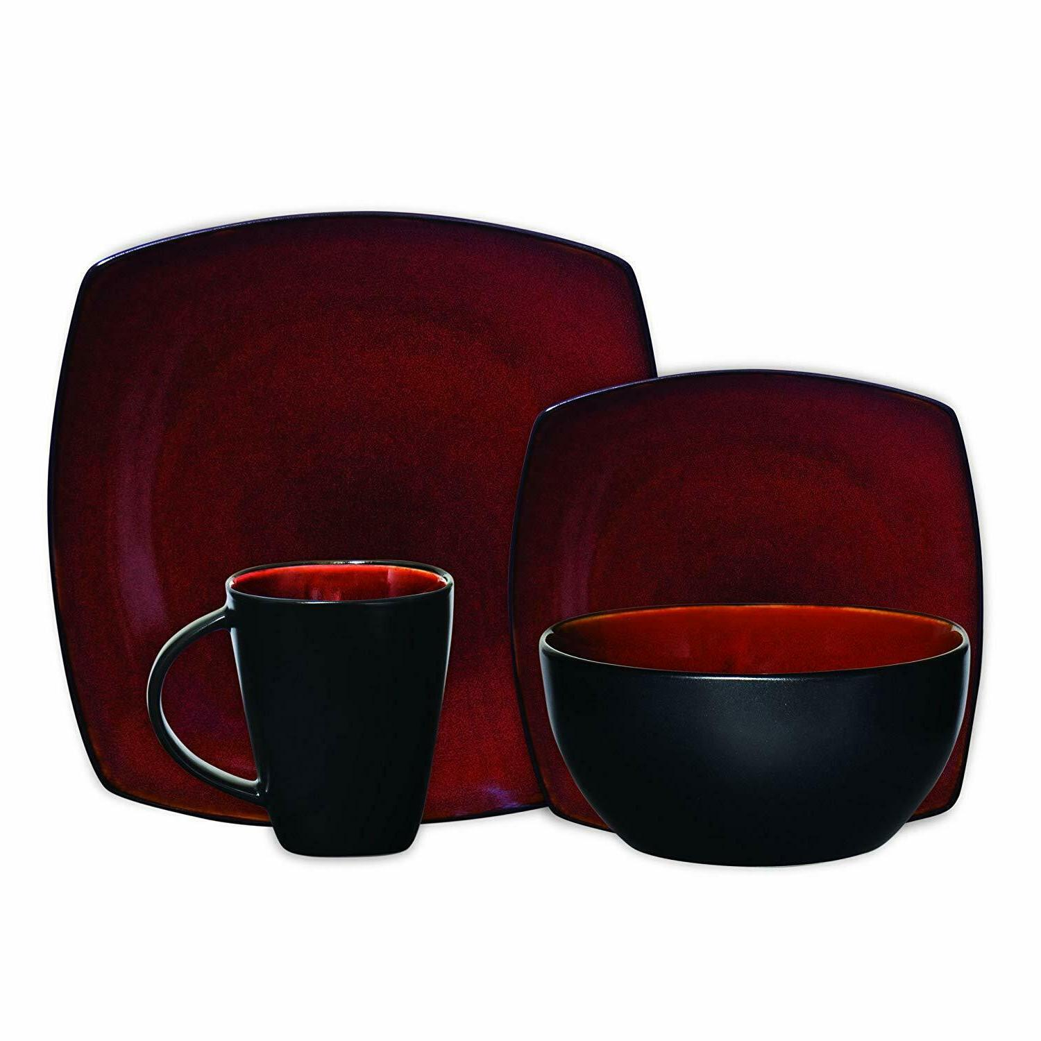 16 Piece Dinnerware Set in Red; Includes 4 Dinner Plates; 4