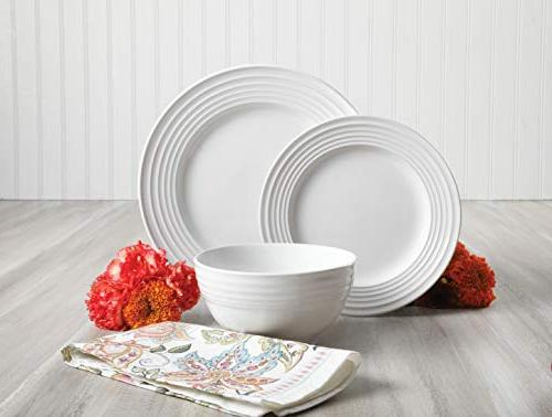 Gibson Piece Plaza Cafe Dinnerware Set with Embossed Stoneware, White