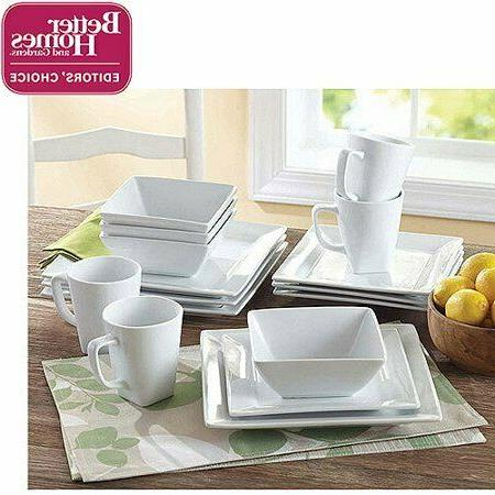 Porcelain Dinnerware Set 16-Piece Square Dinner