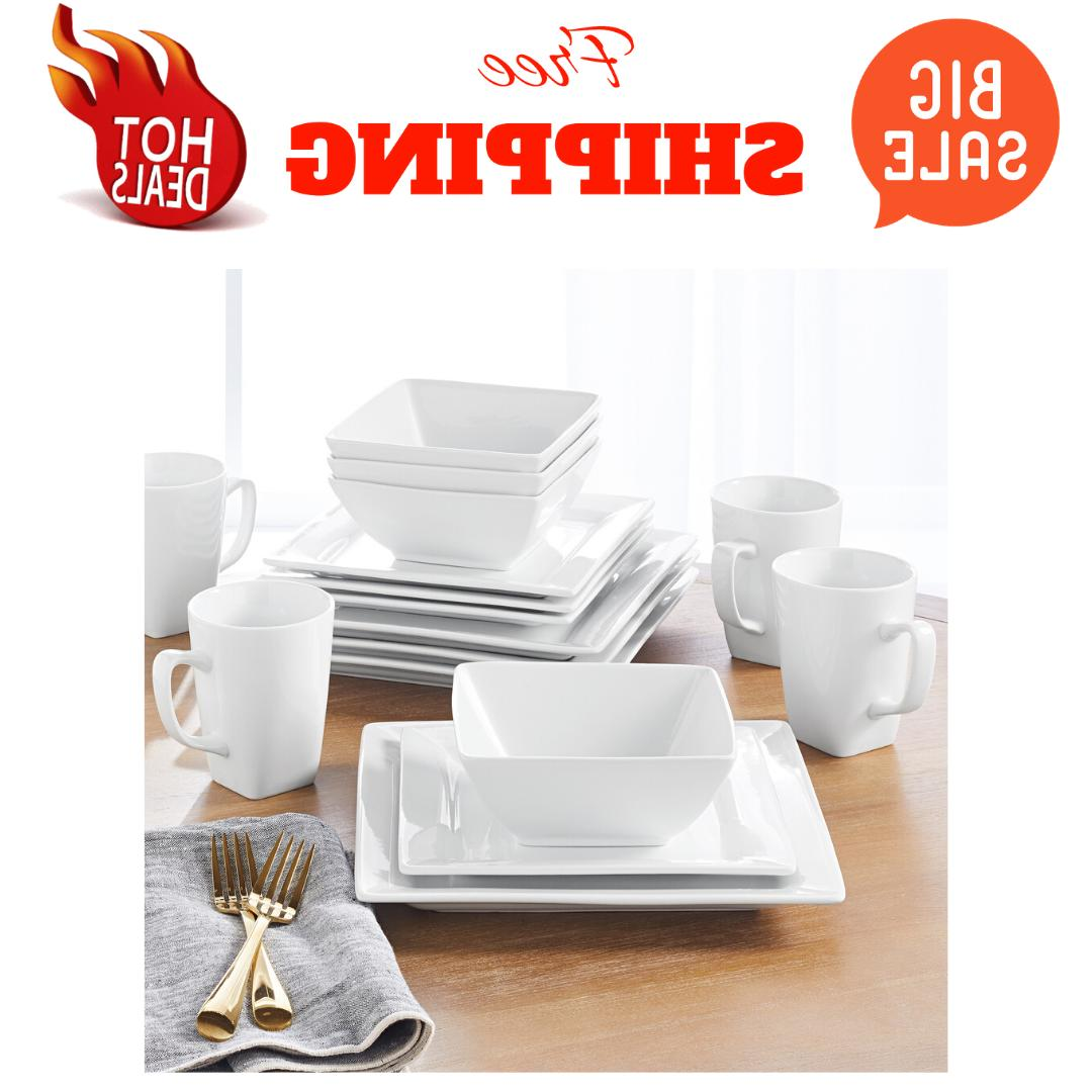 porcelain dinnerware set 16 piece square white