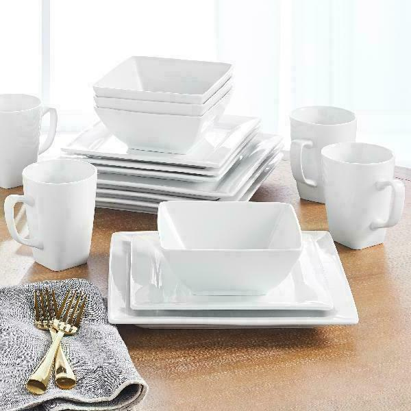 Porcelain Dinnerware Set Square Dishes New