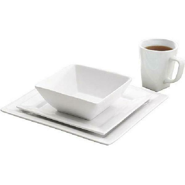 Porcelain 16-Piece Square White Dishes New