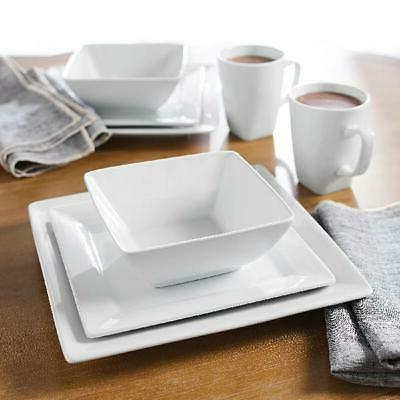 Porcelain Dinnerware 16-Piece Square Dishes