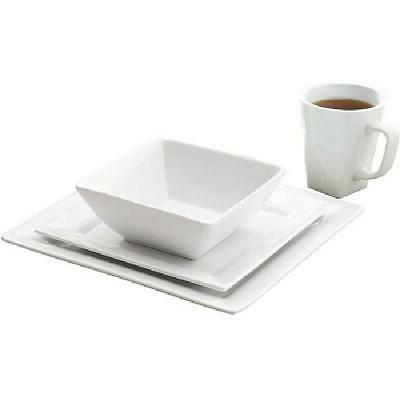 Porcelain 16-Piece Square Plates Dishes