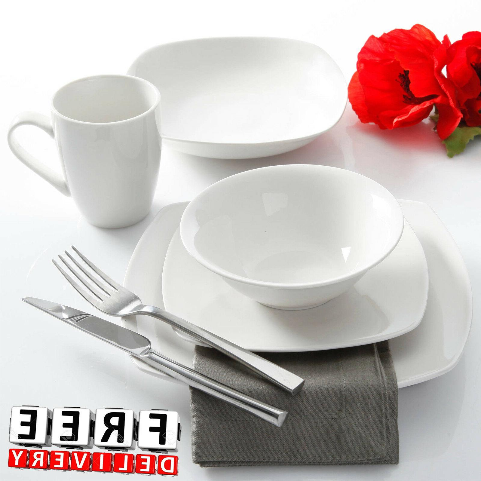 Porcelain Dinnerware Set For 6 30Pc White Round Kitchen Plat