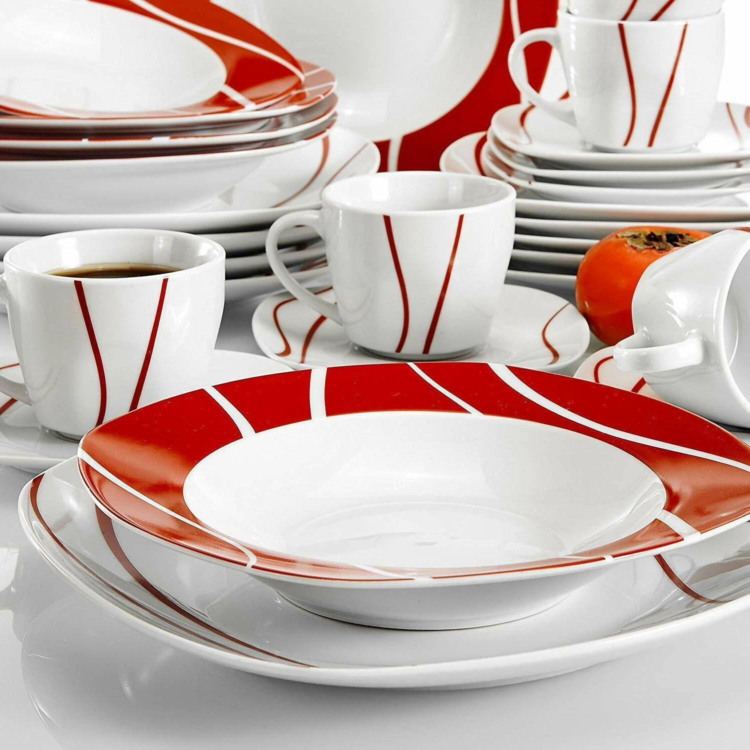 Porcelain 6 Person, Ceramic with Dinner Plates