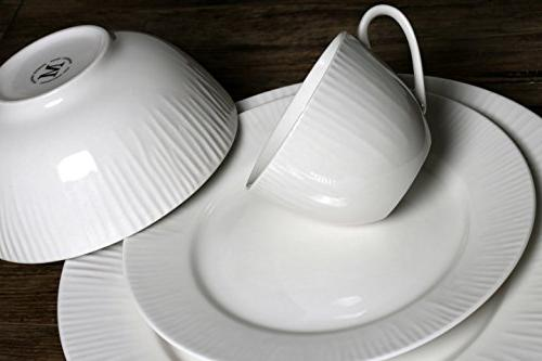 Melange 40-Piece Dinnerware Set | for 8 | Dishwasher & Oven Dinner Plate, Soup & Saucer