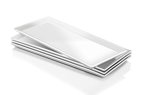 DOWAN 14.5-inch Porcelain Serving Platters/Rectangular Packs, Natural White