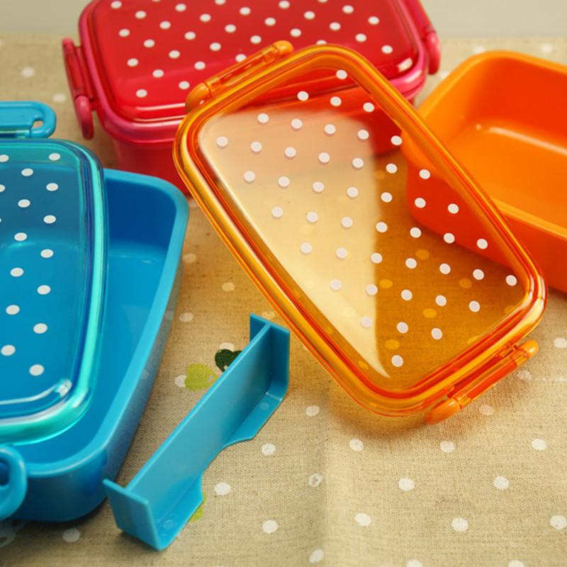 Portable <font><b>Dot</b></font> Food Container Bento Boxs Kids Snack Microwave