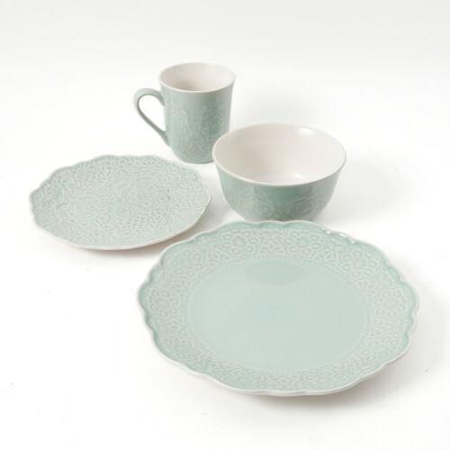 Gibson Portina Piece Dinnerware Set, Mint Green