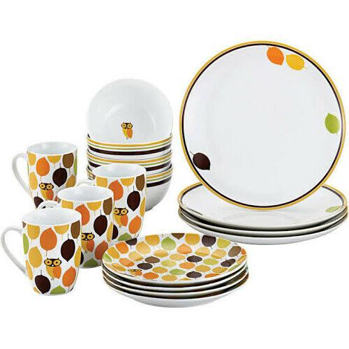 rachael ray 16 pc little hoot dinnerware