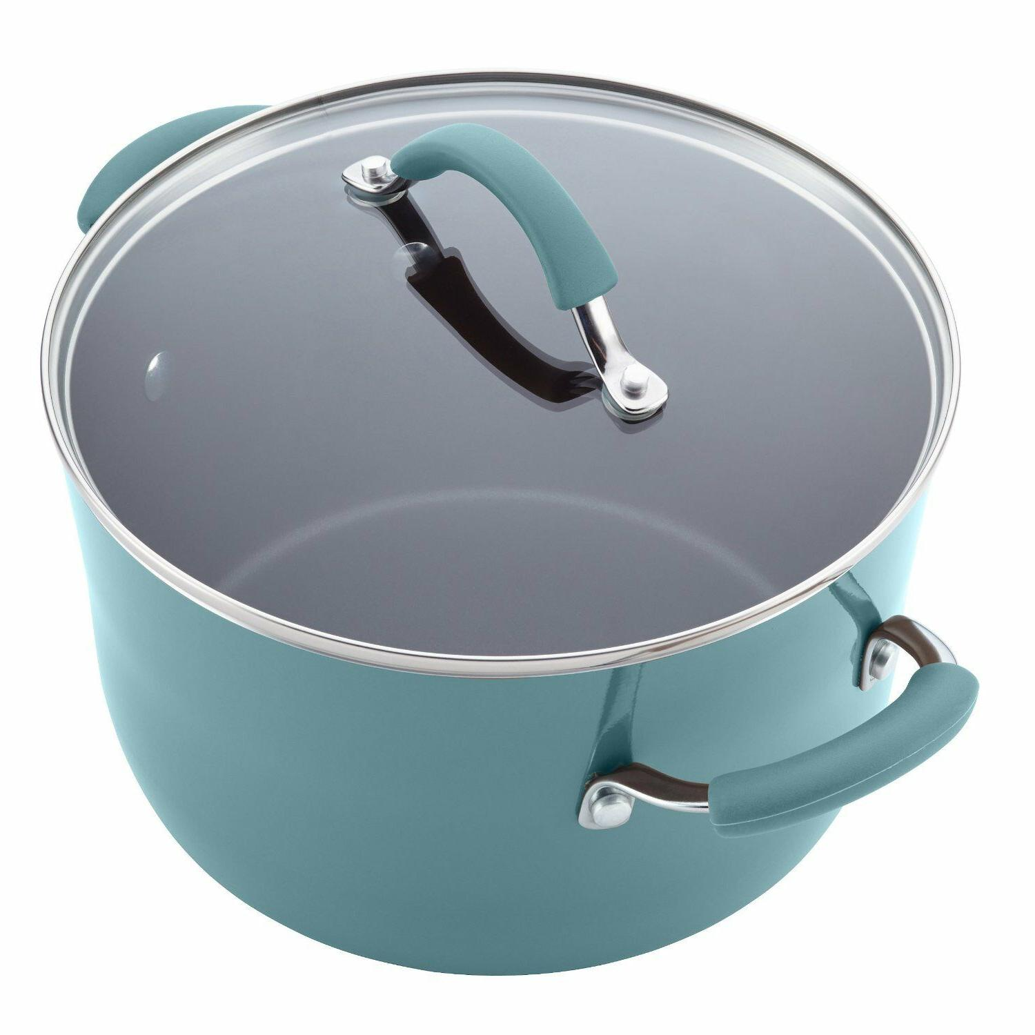 12pc Rachel Set Pans Lids Teal Non Stick