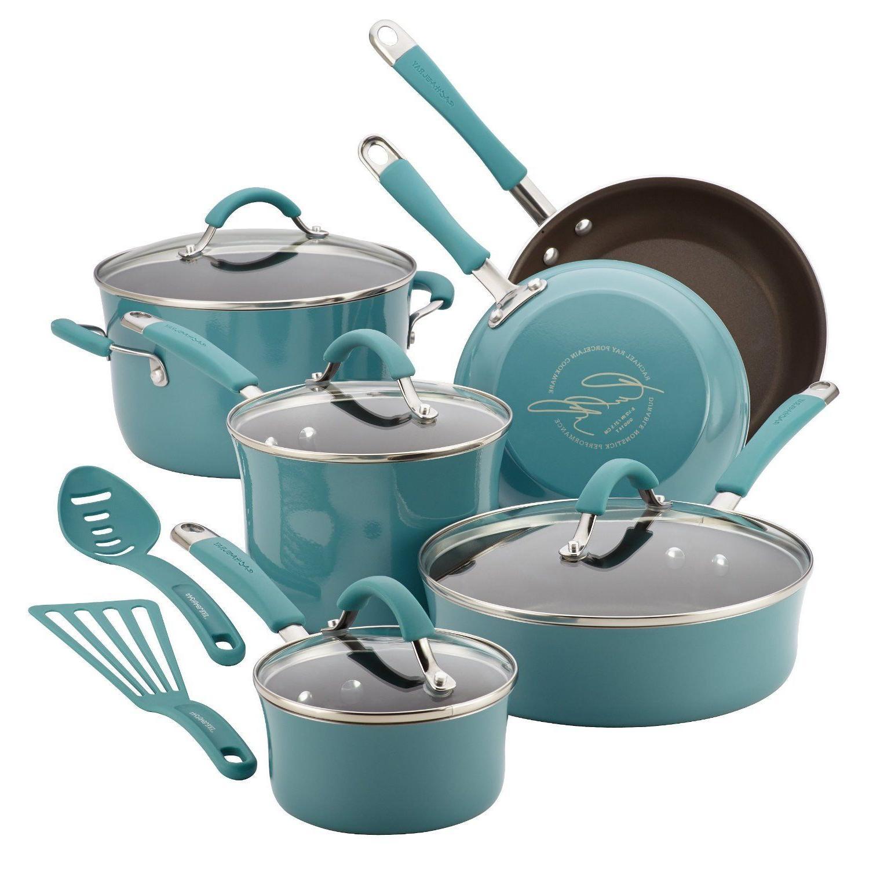 12pc Rachel Ray Cookware Set Nonstick Blue Pots