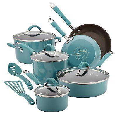 rachel cookware set nonstick blue
