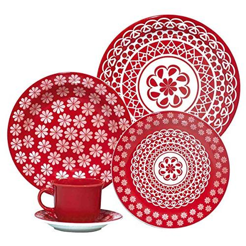 red lace collection daily dinnerware