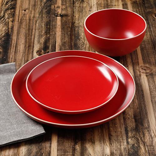 Piece Dinnerware Red