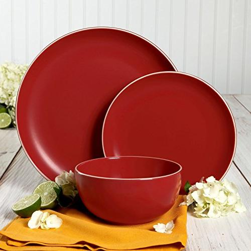 Gibson Home Piece Dinnerware Matte Red