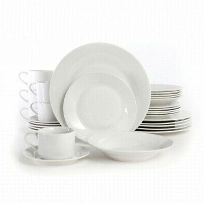 Gibson Rosendale 30‑Piece Round Whiteware Dinnerware Set f