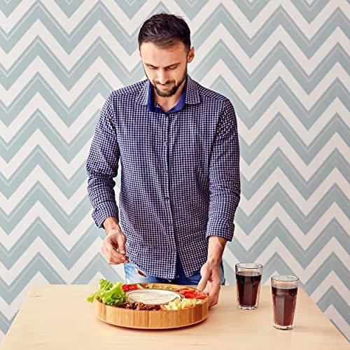 Rotating Serving - Taco Tray Detachable Ceramic Lazy Dip Bamboo