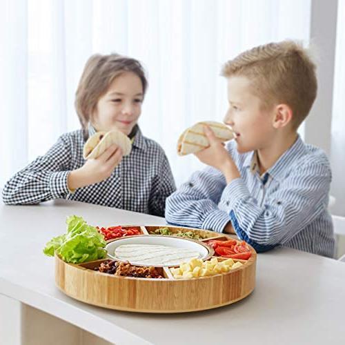 Rotating Appetizer Serving Platter - Taco Lazy Dip Relish Bamboo Wood