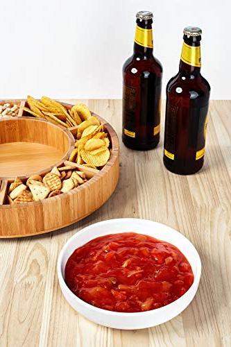 Rotating - Taco Detachable Ceramic Dish Lazy Susan Сhip and Dip Relish Bamboo
