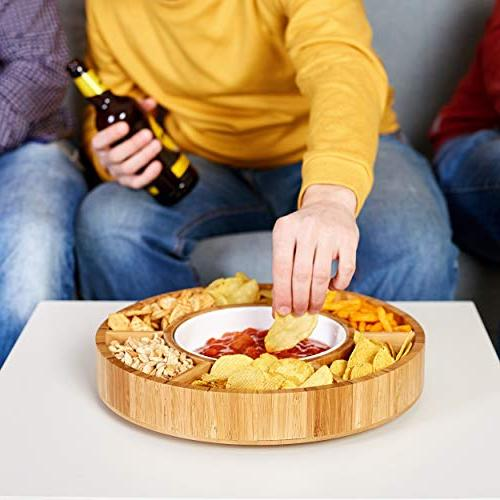 Rotating Appetizer - Taco Tray with Detachable Dish Lazy Susan Сhip Dip Bamboo