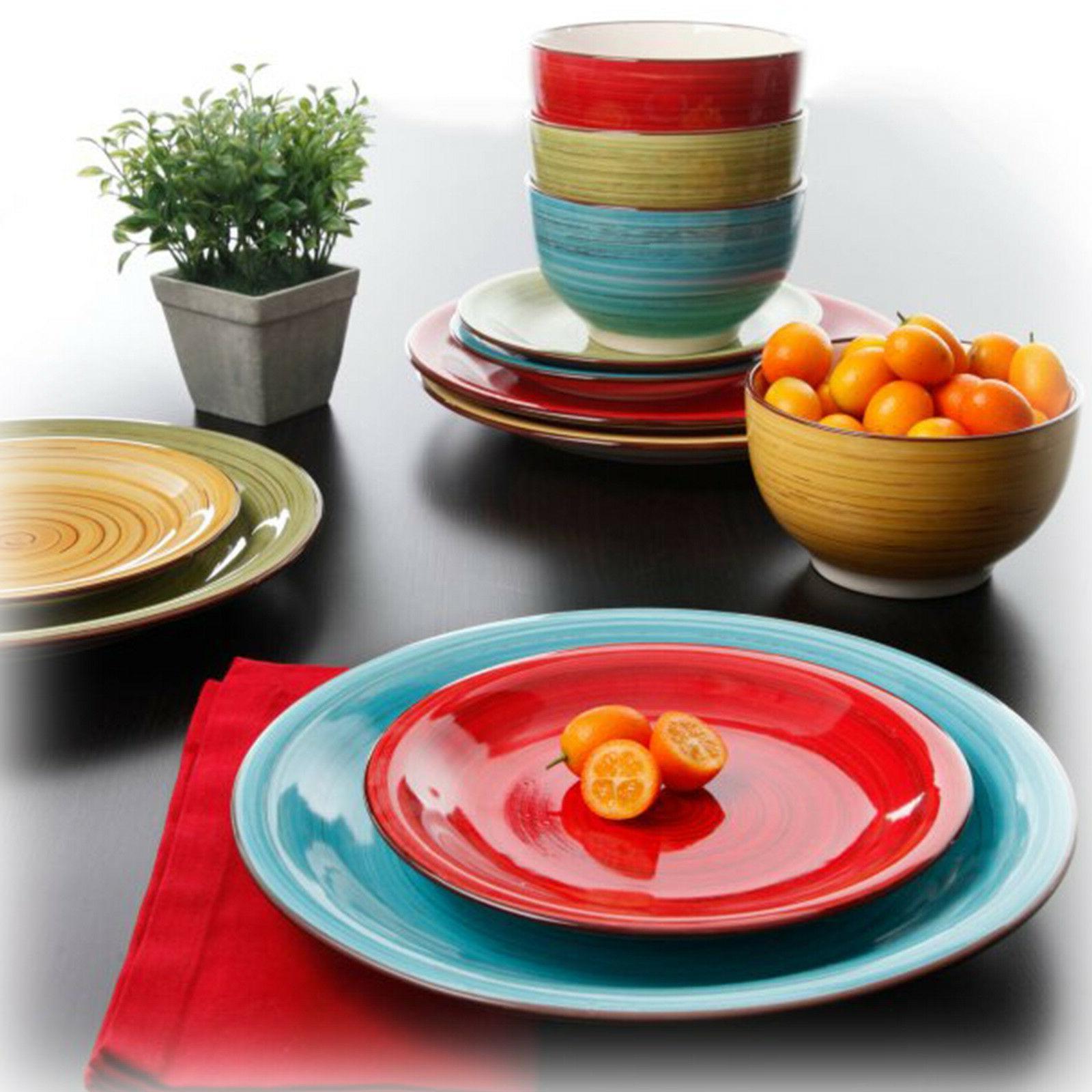 Round Dinnerware Set For 8 Durastone 24Pc Plates Bowls Dishe