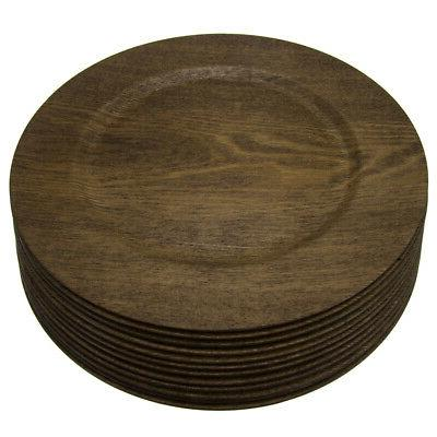 12pk Round 13 Inch Wood Skin Charger Plates Gibson Home Dinn