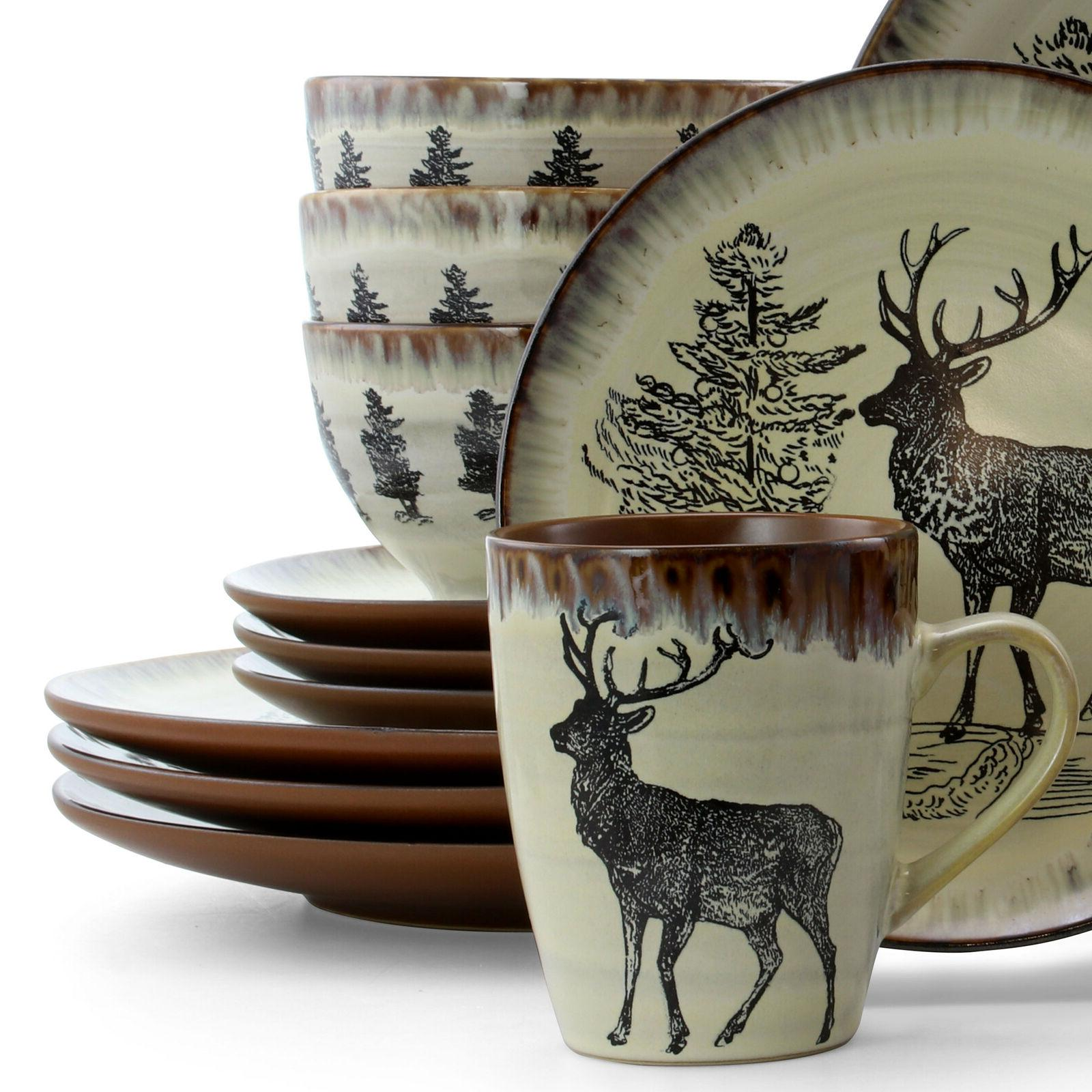 Rustic Set Farmhouse Country Dinner Plates