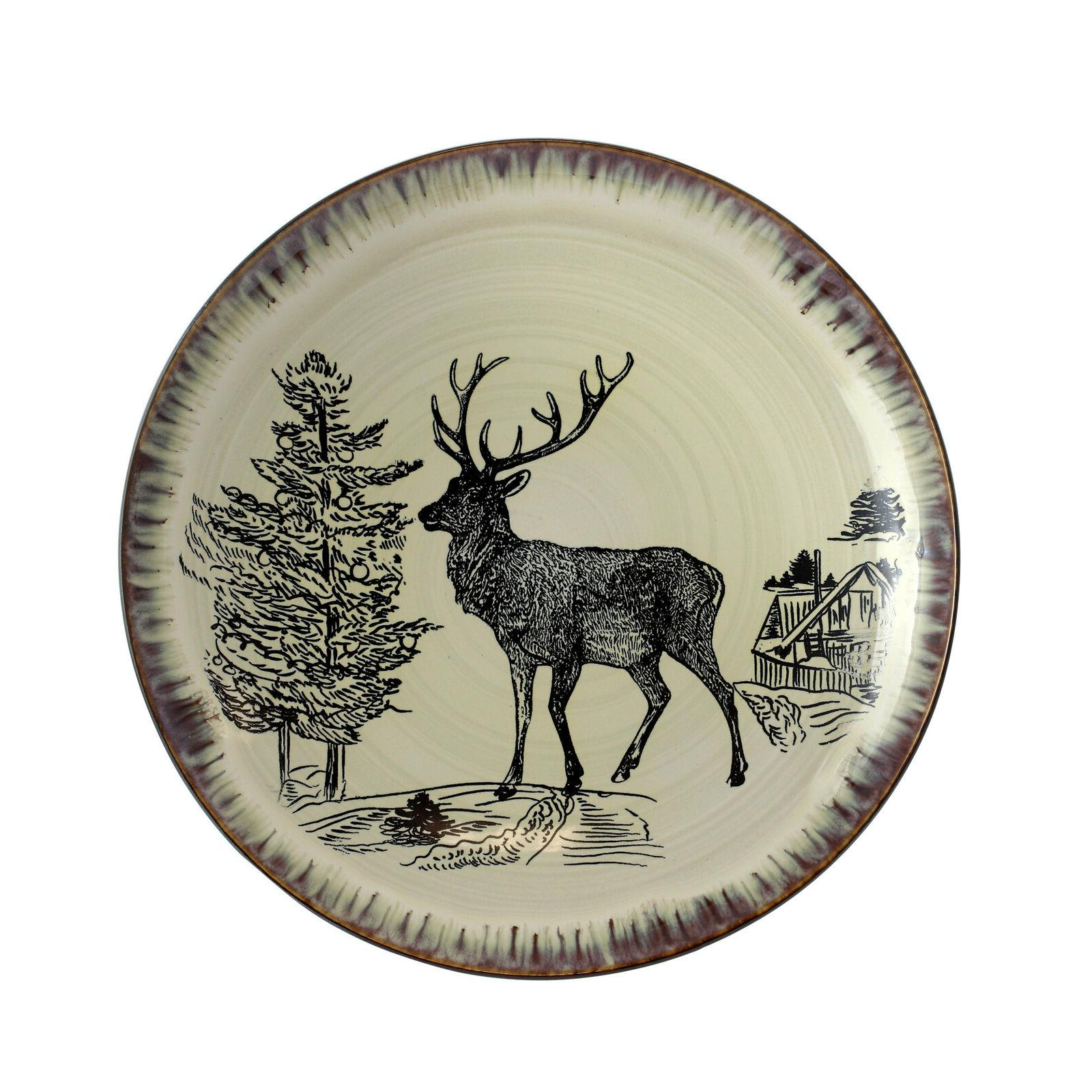 Rustic Deer Farmhouse Cabin Kitchen Dinner Dishes