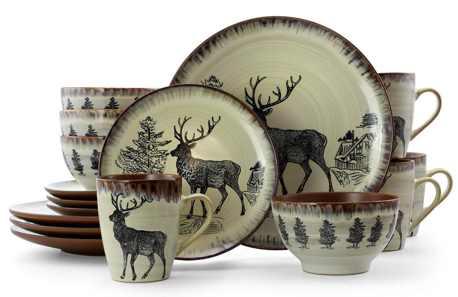 rustic dinnerware set deer farmhouse cabin country