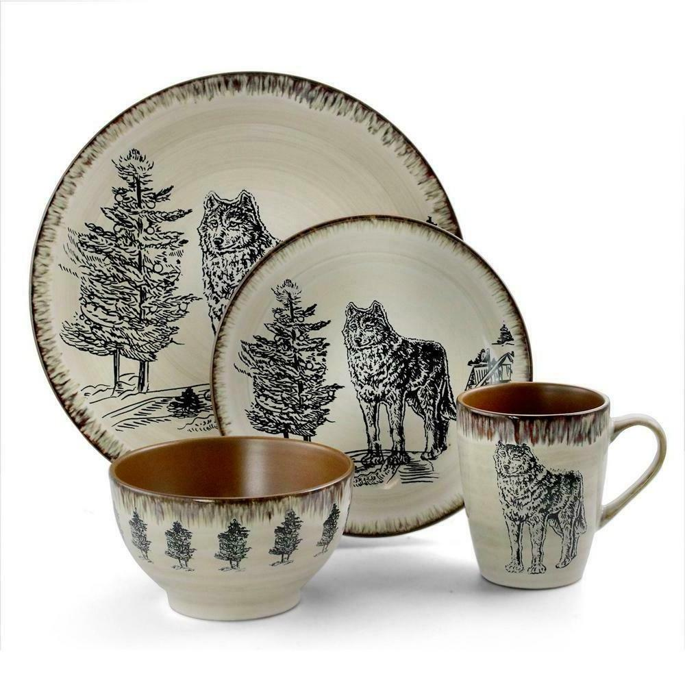 Rustic Dinnerware Set Wild Wolf Cabin Country Kitchen Plates